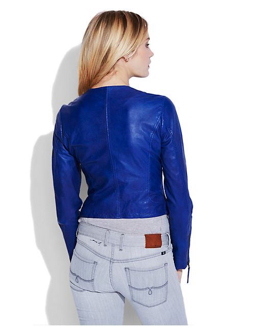 HARPER LEATHER JACKET, 456 COBALT