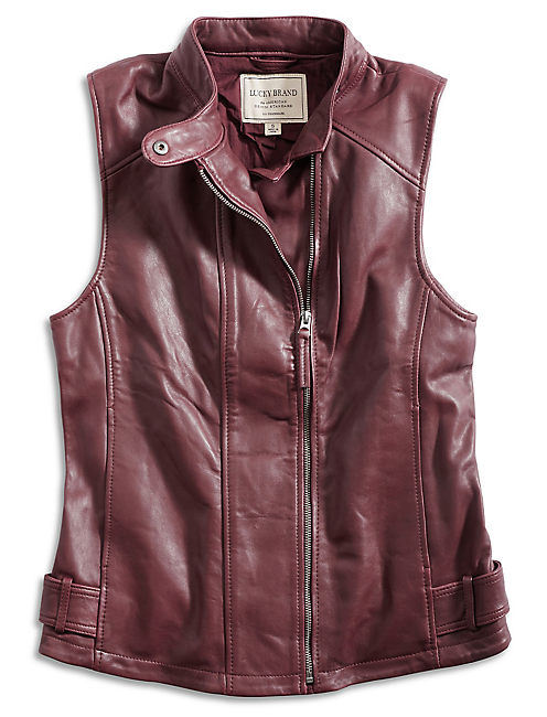 LEATHER VEST, LUXE BURGANDY