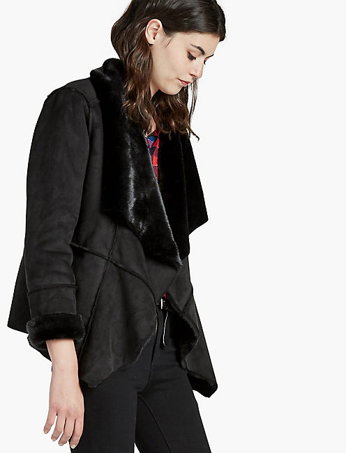 SHEARLING WATERFALL JACKET, 001 LUCKY BLACK