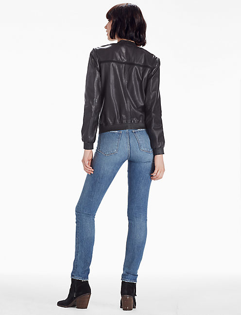 LEATHER BOMBER, 001 LUCKY BLACK