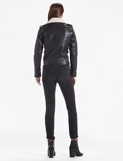 Sherpa Collar Leather Moto Jacket,