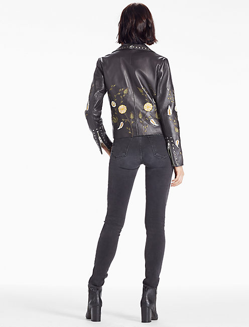 EMBROIDERED MOTO, 001 LUCKY BLACK
