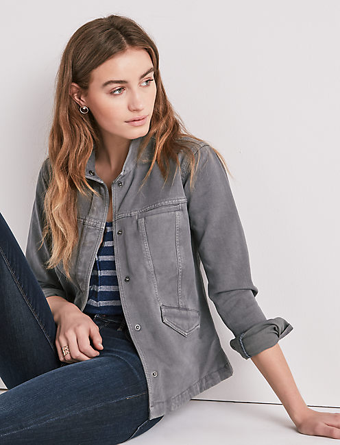WAISTED UTILITY JACKET, WASHED GREY