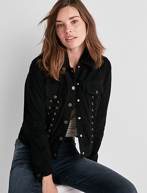 LACE UP SUEDE JACKET,