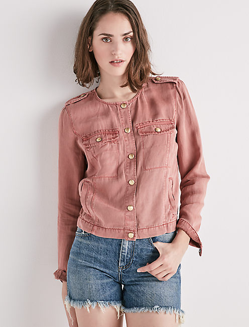 COLLARLESS UTILITY JACKET,