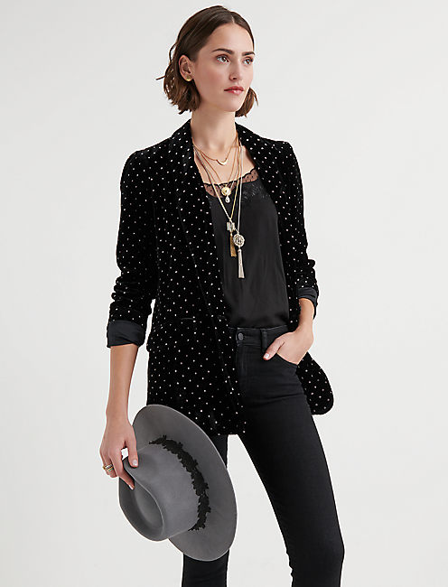 VELVET POLKA DOT BLAZER, BLACK MULTI