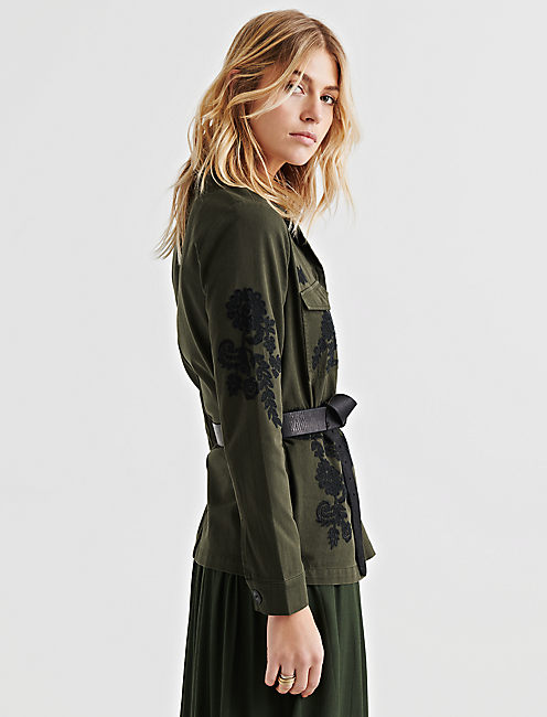 EMBROIDERED UTILITY JACKET, 378 OLIVE