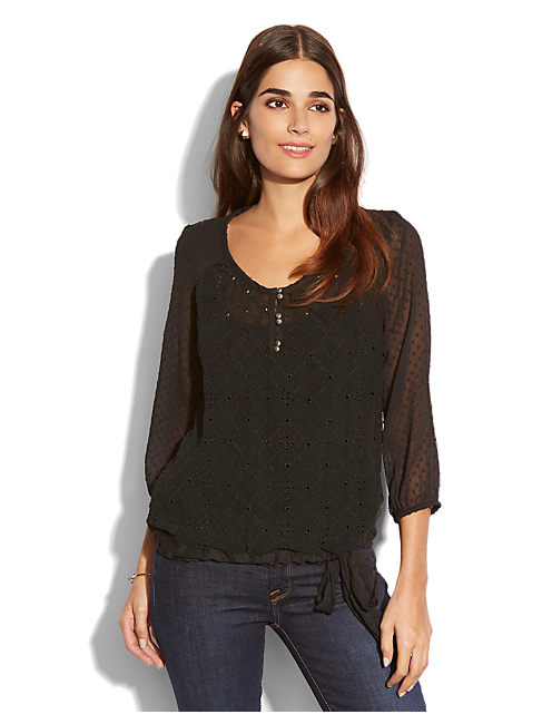 AGATE EYELET TOP, 001 LUCKY BLACK