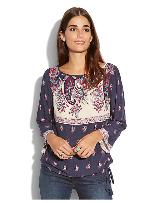 LARACHE BORDER PRINT TOP, NAVY MULTI