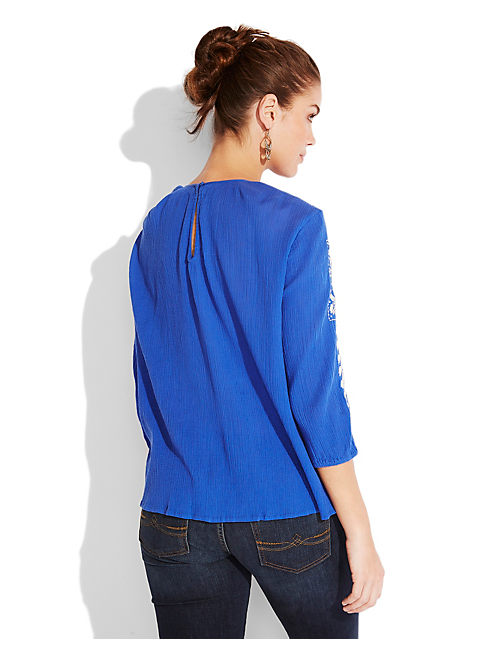 DAZZLING EMBROIDERED TOP, BLUE MULTI