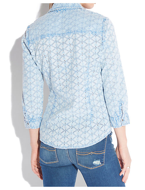 INDIGO EYELET SHIRT, BLUE MULTI