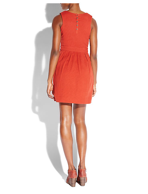 SAYDEE EMBROIDERED DRESS, RED OCHRE