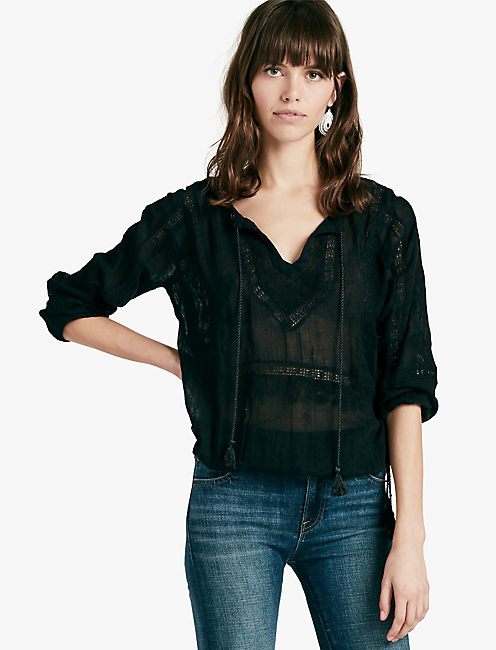 LACE INSERT TOP, 001 LUCKY BLACK