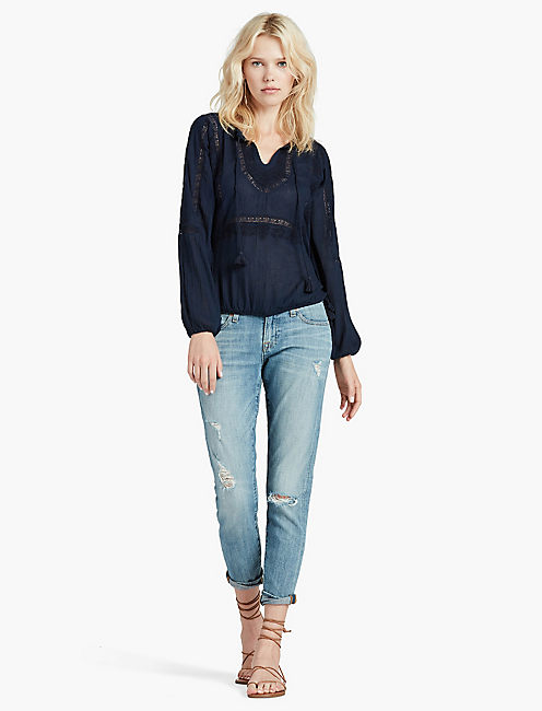 LACE INSERT TOP, AMERICAN NAVY