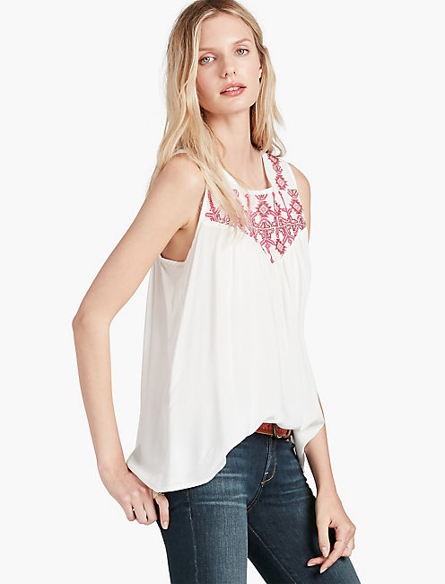 GEO EMBROIDERED BIB TOP, LUCKY WHITE