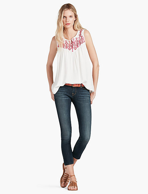 GEO EMBROIDERED BIB TOP,
