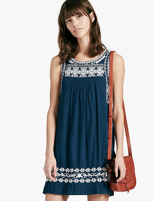 EMBROIDERED DRESS, AMERICAN NAVY