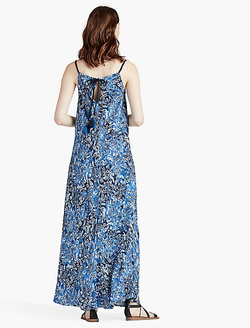 INDIGO FLORAL MAXI DRESS,