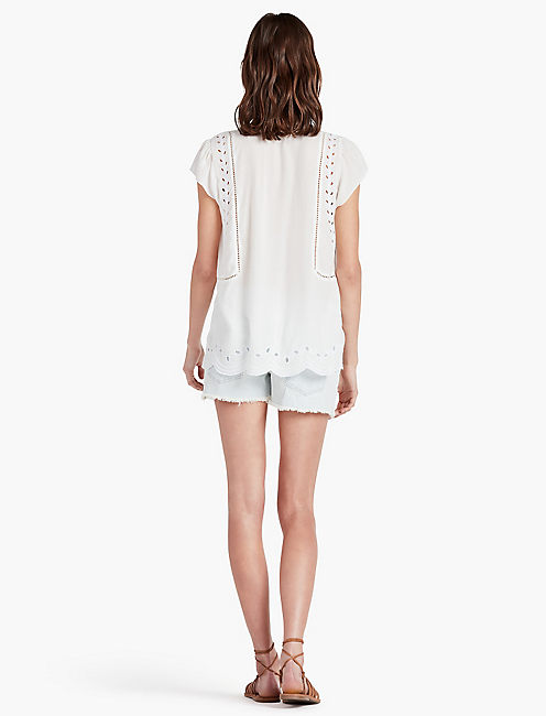 CUT OUT EMBROIDERED TOP,