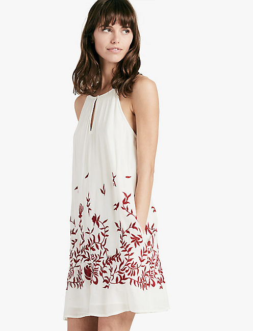 FLORAL EMBROIDERED DRESS, NATURAL MULTI