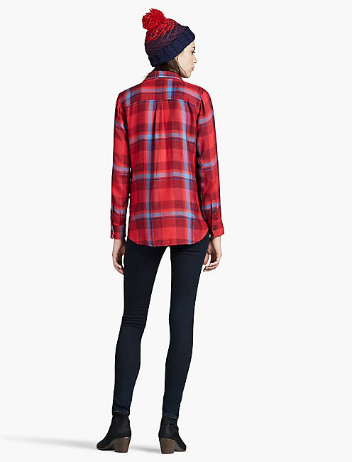BUTTON SIDE PLAID, RED MULTI