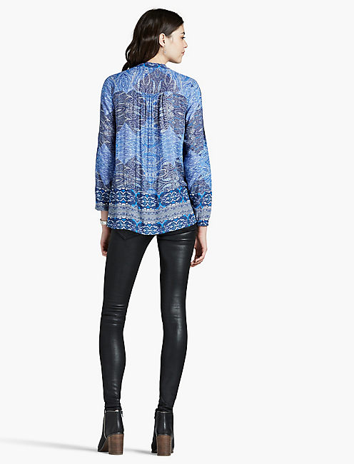 CUT OUT BLOUSE, BLUE MULTI