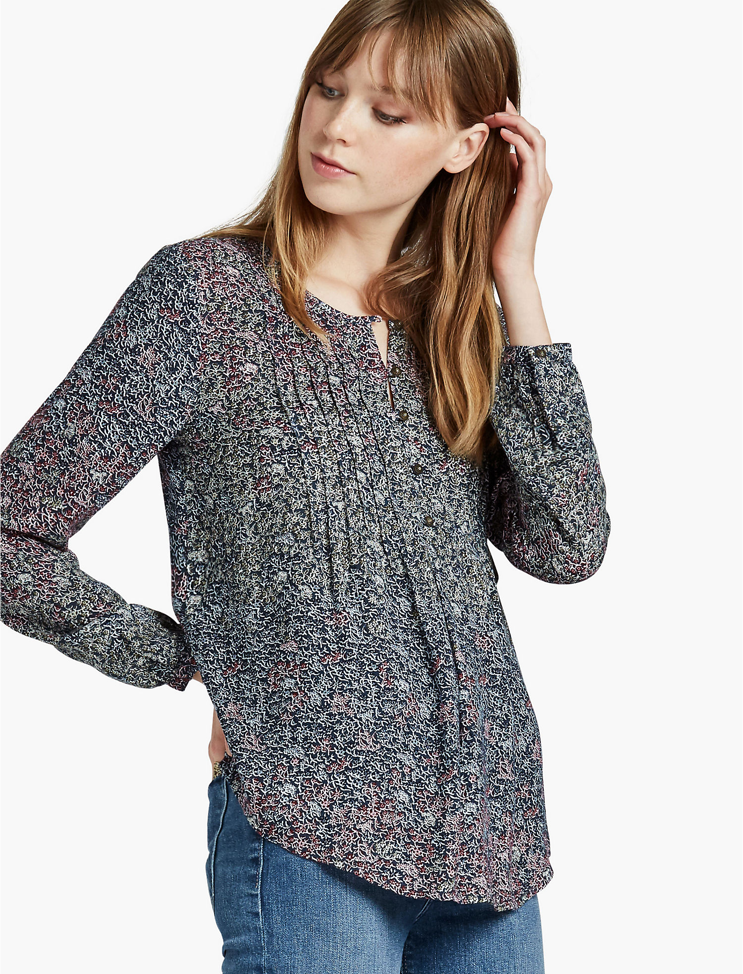 Pintuck Peasant Top Lucky Brand Cheap Pay With Paypal Clearance Low Cost Latest Cheap Price Factory Outlet Sale Online wpC7UlzZTd