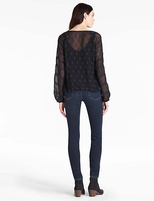 EMBROIDERED BANDED BLOUSE,