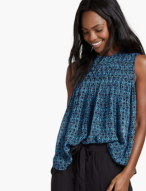 TUCKED YOKE TANK, BLUE MULTI