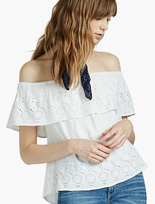 EYELET OFF THE SHOULDER TOP, MARSHMALLOW