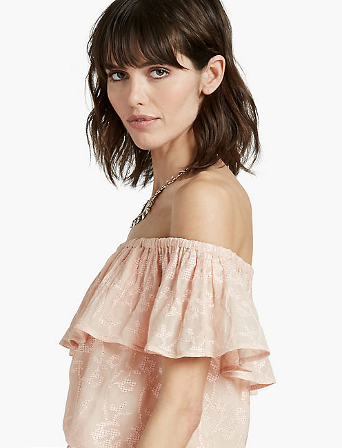 EMBROIDERED OFF THE SHOULDER TOP, BLUSH