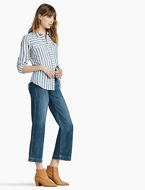 LUCKY STRIPE SPLIT BACK SHIRT