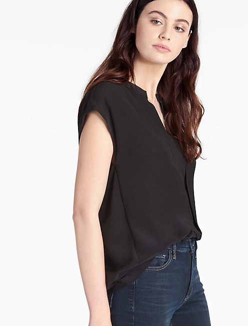 SILK SHORT SLEEVE BLOUSE,