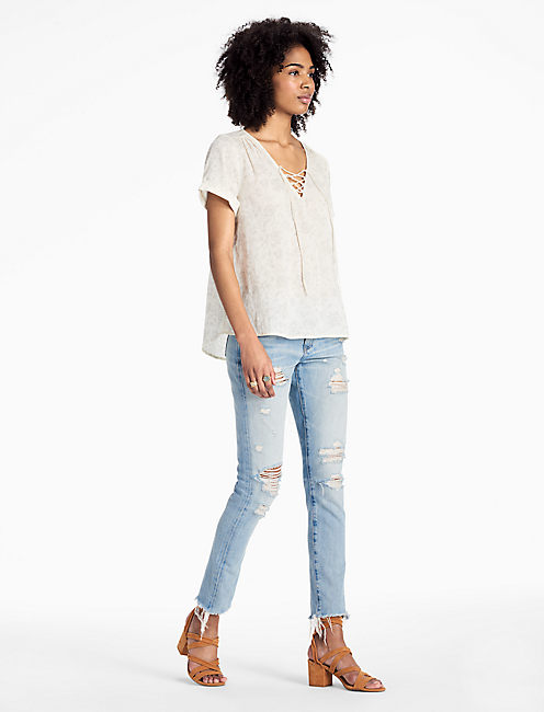 FLORAL LACE UP TOP,