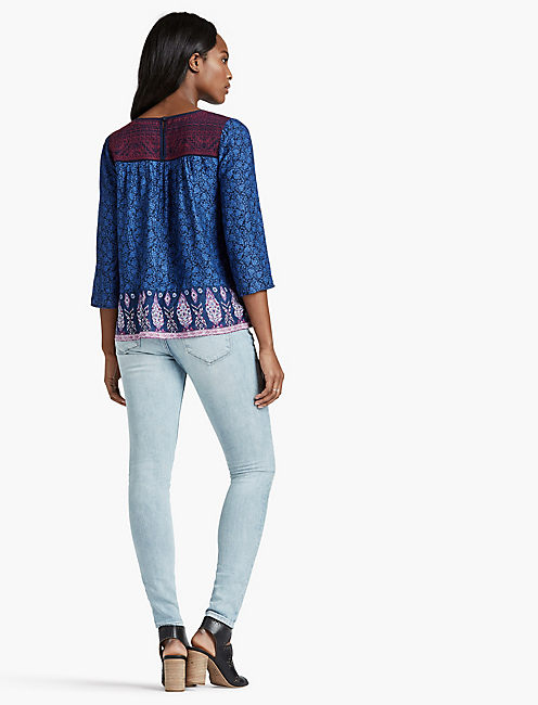 EMBROIDERED BORDER PEASANT TOP,