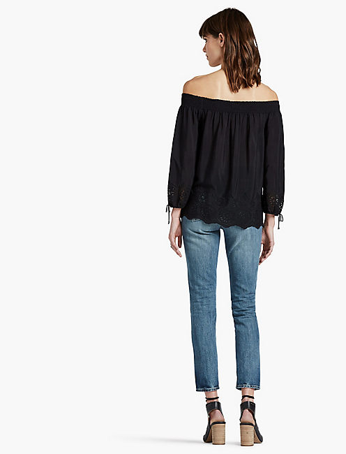 EYELET OFF THE SHOULDER TOP, 001 LUCKY BLACK