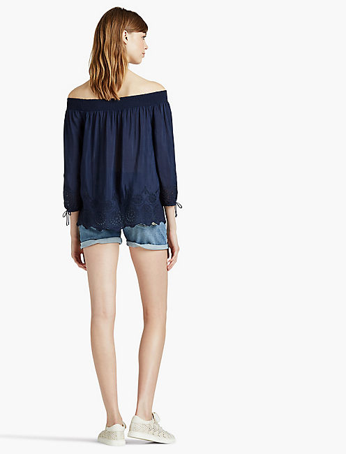EYELET OFF THE SHOULDER TOP, AMERICAN NAVY