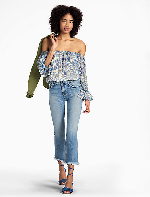 Lucky Blue Maze Off Shoulder Top