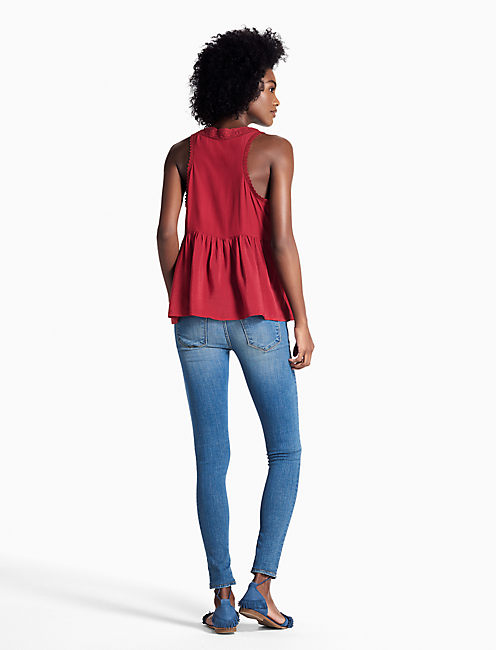 LACE TRIM TANK, #6703 BIKING RED
