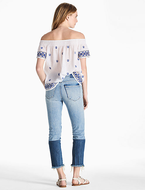 OFF SHOULDER EMBROIDERED TOP, LUCKY WHITE