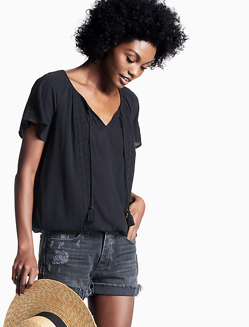 GAUZE EMBROIDERED TOP,