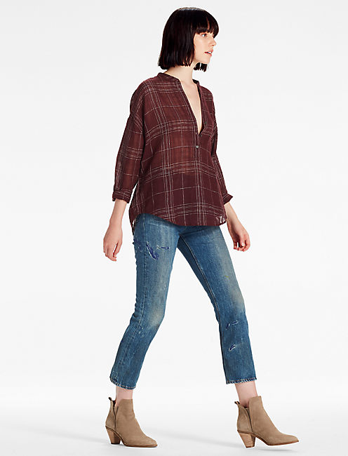 Lucky Burgundy Plaid Shirt