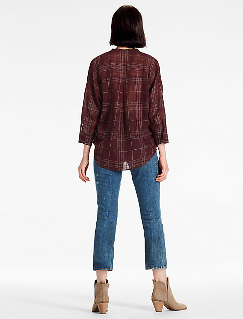 BURGUNDY PLAID SHIRT, BURGUNDY MULTI