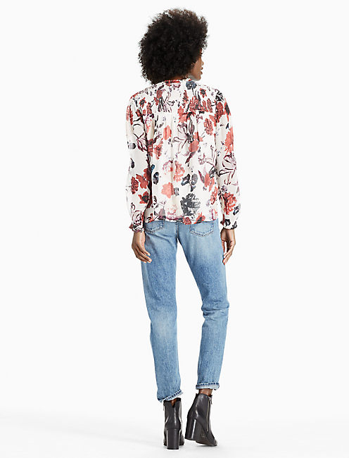 FLORAL MOCK NECK TOP, MULTI