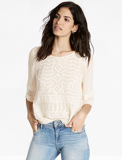 EMBROIDERED BLOUSE, BIRCH