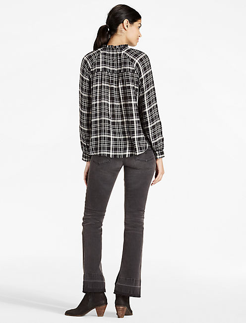 PLAID HIGH NECK TOP,