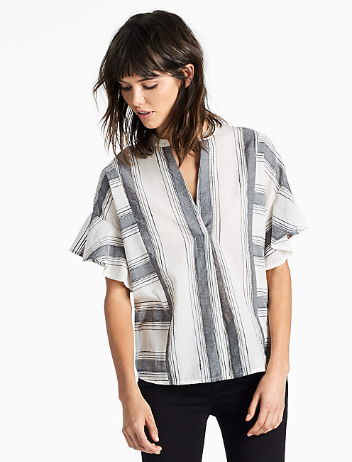 STRIPE RUFFLE SHIRT,
