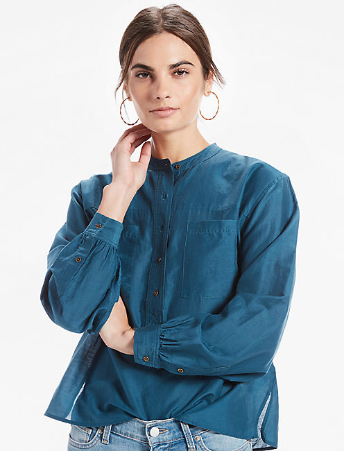 CTN/SILK POPOVER TOP, DEEP DIVE