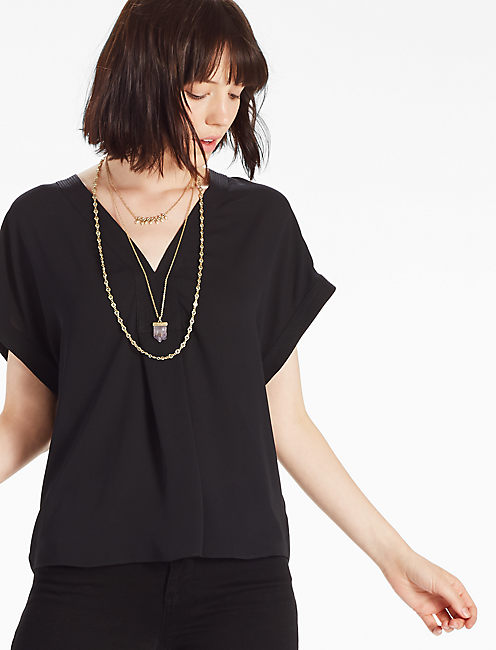 DRAPED SHIRT, 001 LUCKY BLACK