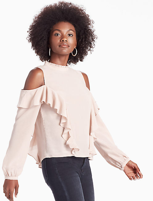 COLD SHOULDER RUFFLE BLOUSE, SHADOW GRAY